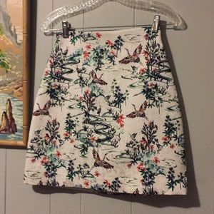 H&M Jacquard Crane and Bamboo Print Mini Skirt